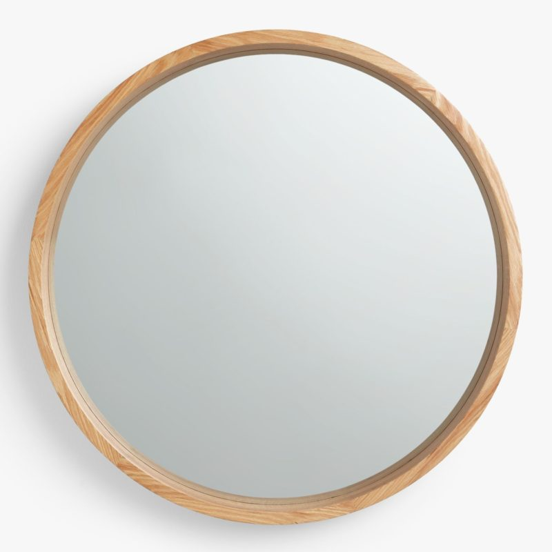 Minimalist circular wall mirror with oak frame
