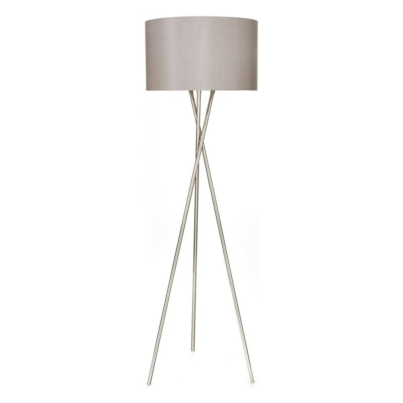 Chrome tripd floor lamp with silver shade