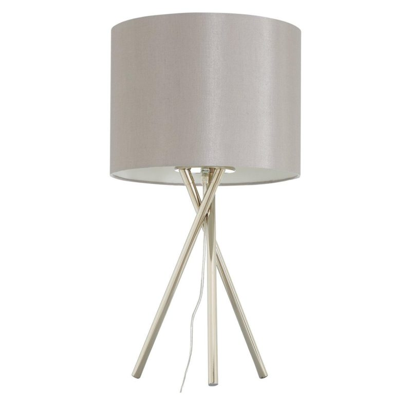 Metal tripos table lamp with silver-coloured shade