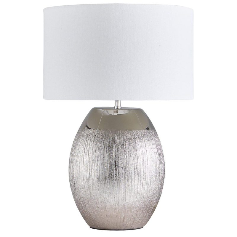 Table lamp with silver-coloured ceramic base