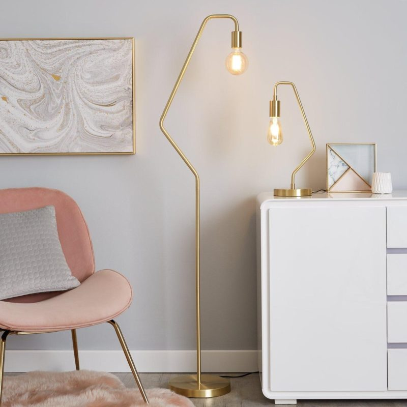 Matching floor lamp and table lamp