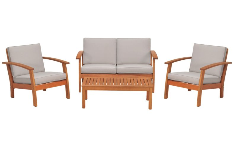 Outdoor sofa, 2 armchairs and coffee table