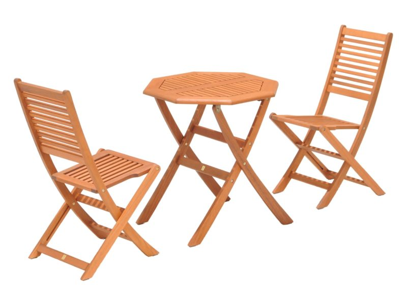 Natural wood bistro set