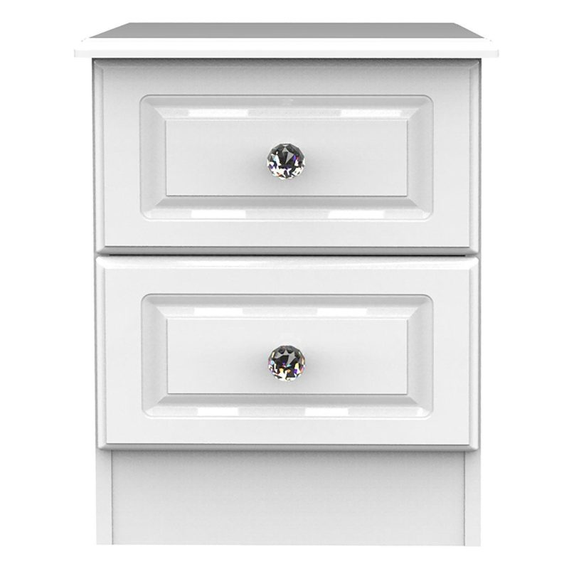 2 drawer gloss white bedside chest