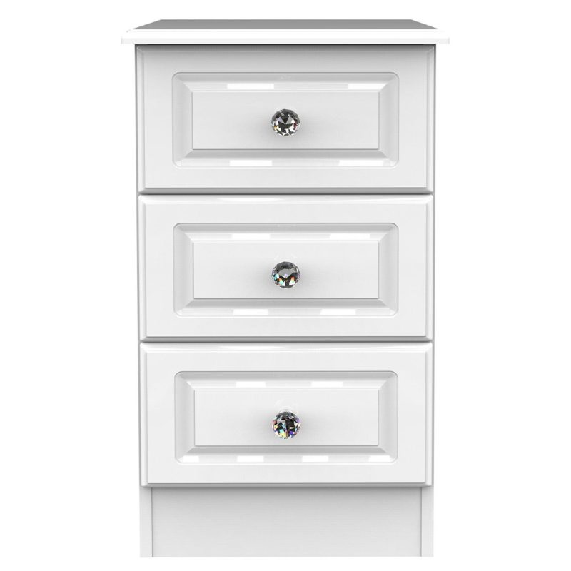 3 drawer bedside chest with white gloss finish