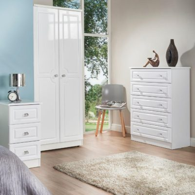 Clarence white gloss bedroom furniture.