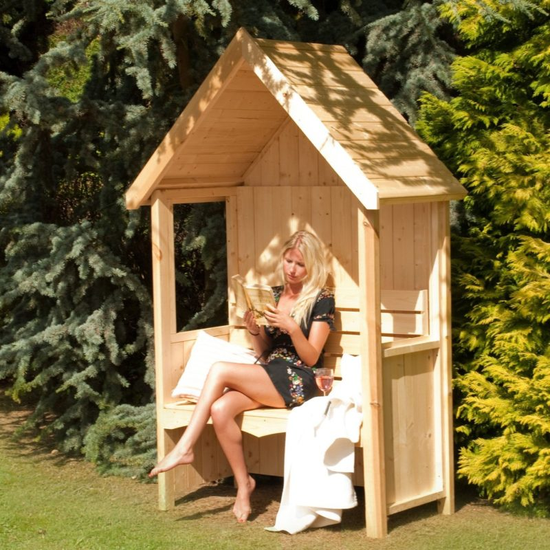 Wooden garden arbour with pitched roof and bench seat