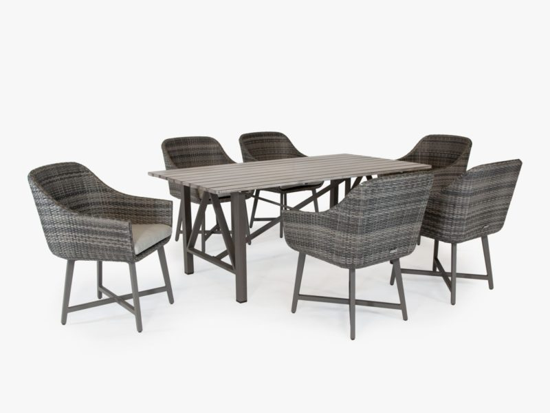 Outdoor dining table and 6 woven wicker chairs