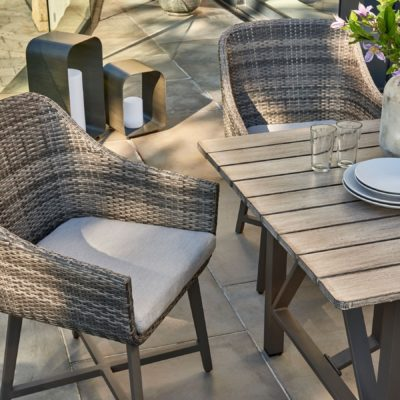 Wicker chairs and outdoor table