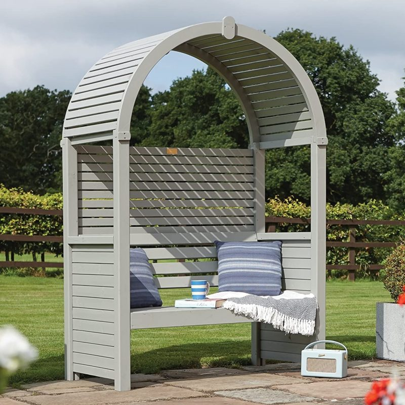 Painted arbour with rounded roof