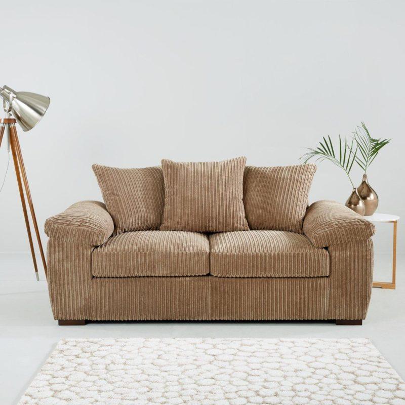 2-seater Mocha fabric sofa