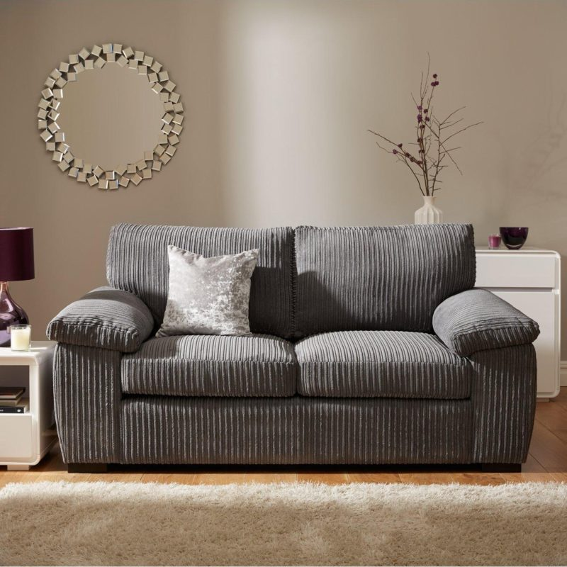 2-seater sofa upholstered in grey cord fabric