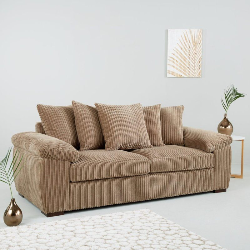 3-seater mocha fabric sofa