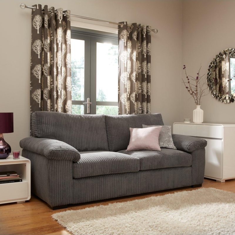 3-seater grey cord fabric sofa
