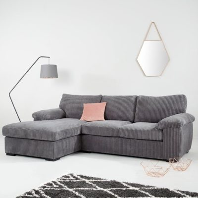 Grey fabric chaise-end sofa