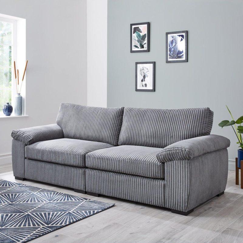 grey cord fabric 4-seater sofa