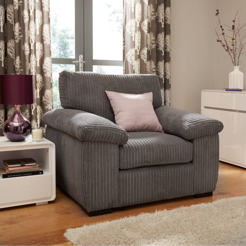 Grey corded fabric armchair
