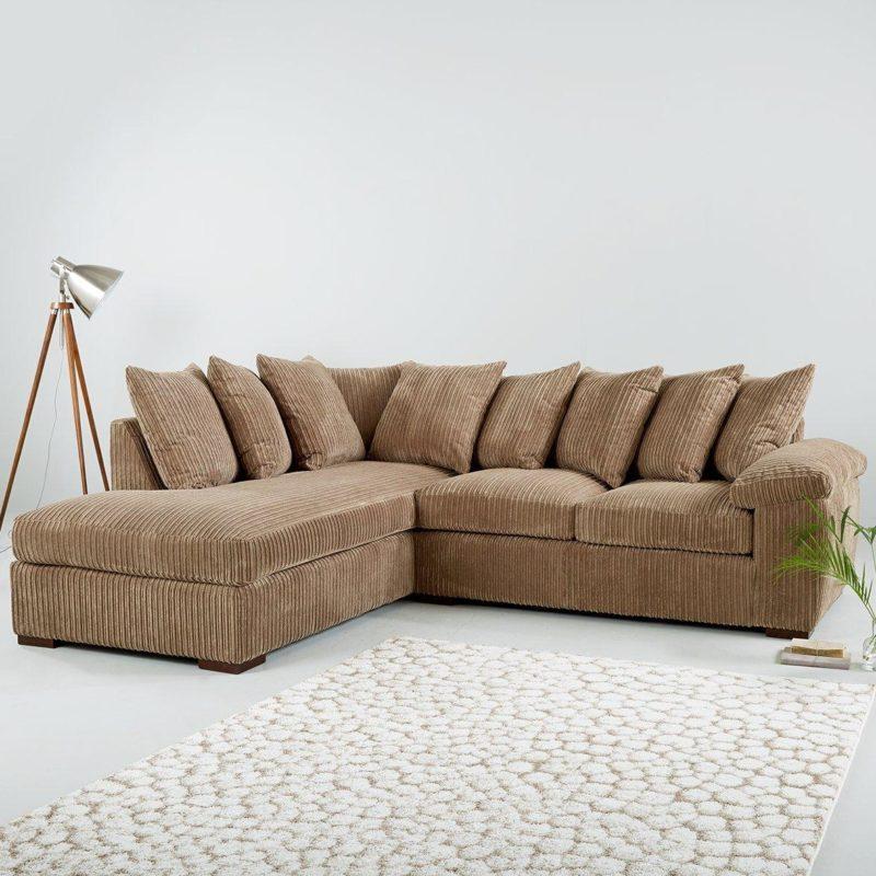 Mocha fabric corner sofa