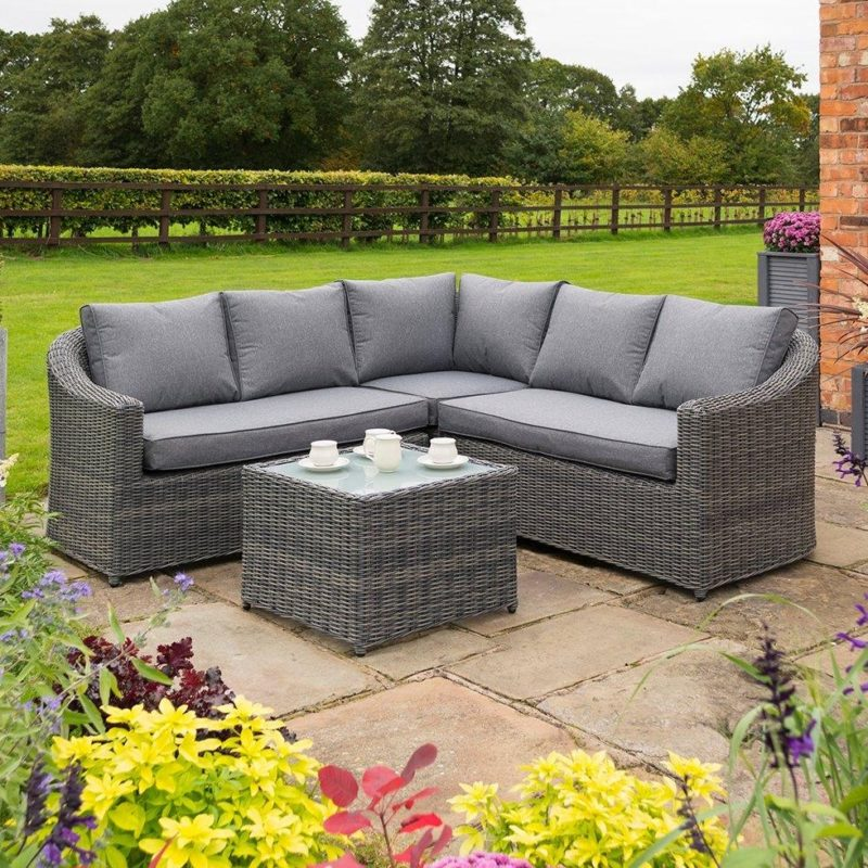Outdoor corner sofa set with coffee table