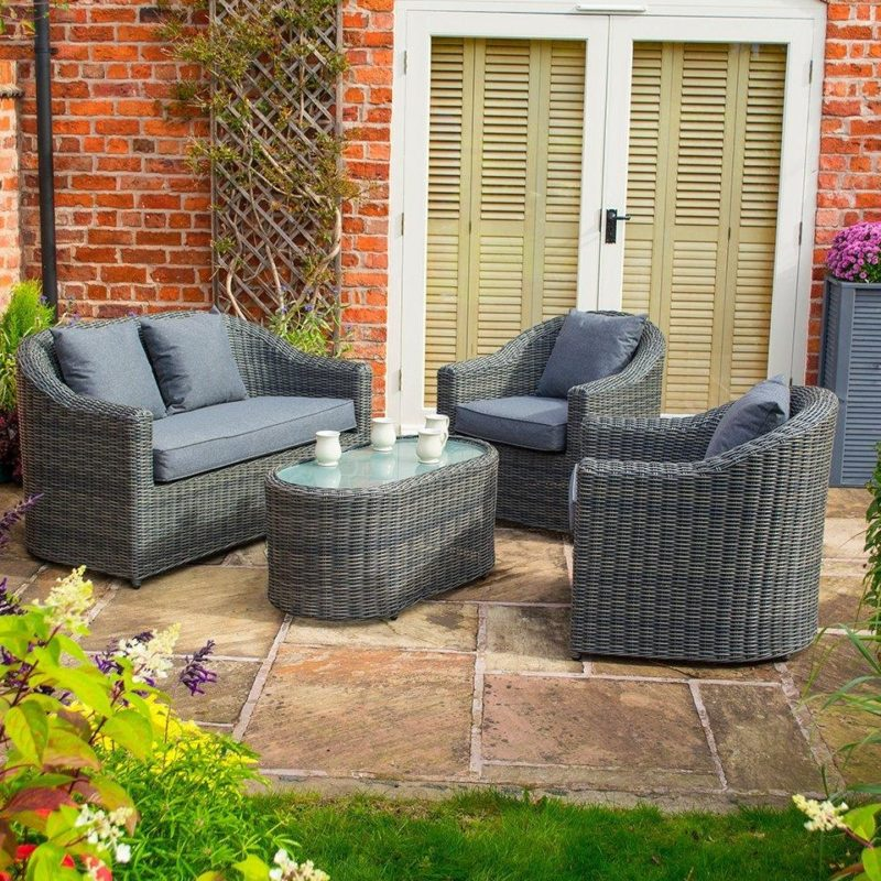 Grey rattan sofa, 2 chairs and coffee table