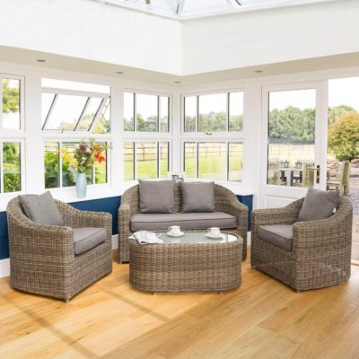 Conservatory sofa and chairs with table