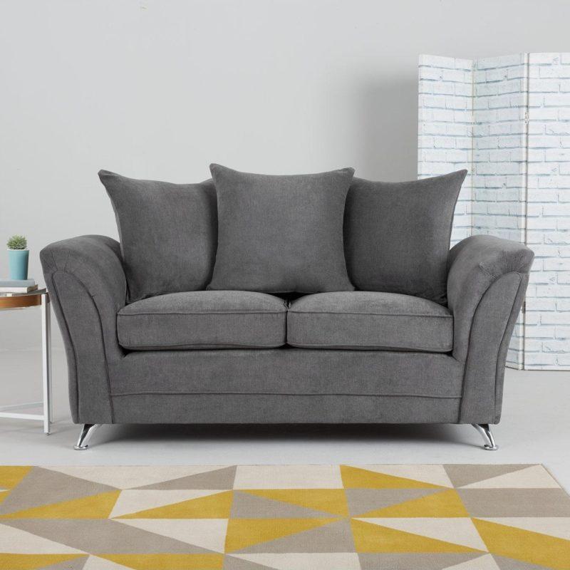2-seater grey fabric sofa