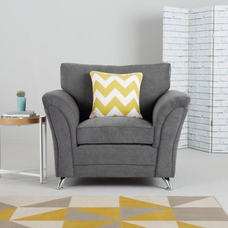 Gray fabric armchair