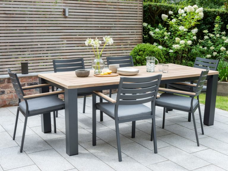 Teak dining table with grey metal frame