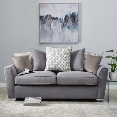 3-seater grey fabric sofa