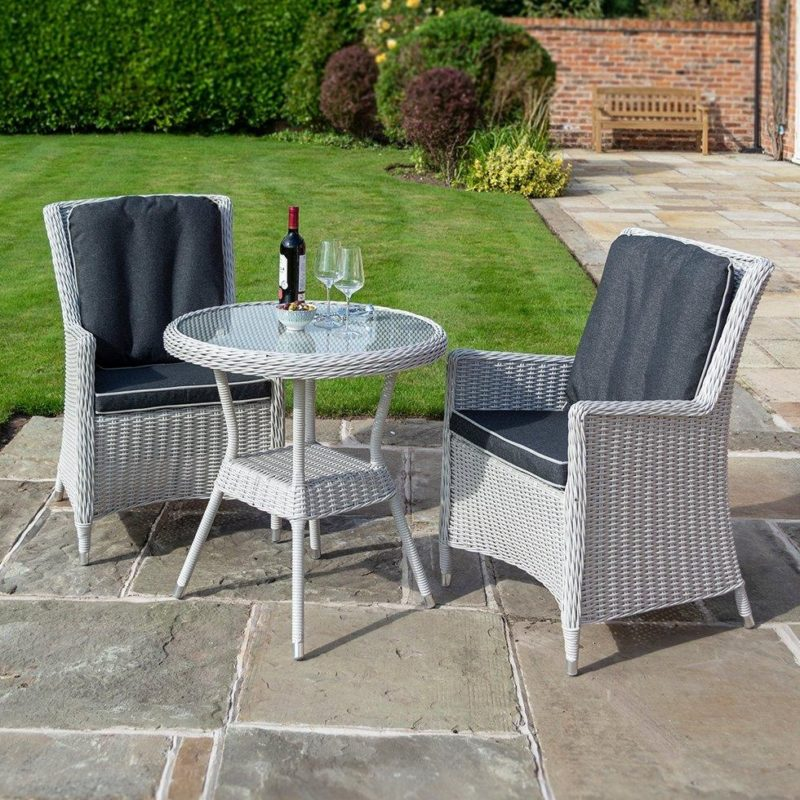 White rattan bistro dining set