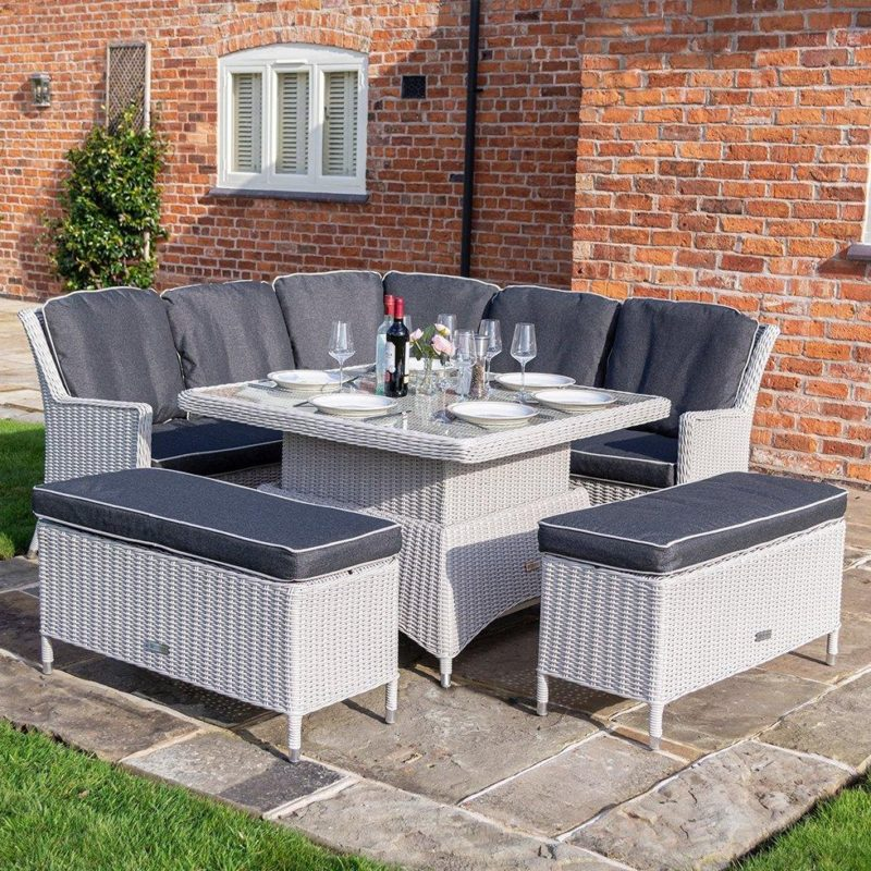 Outdoor corner dining set with benches