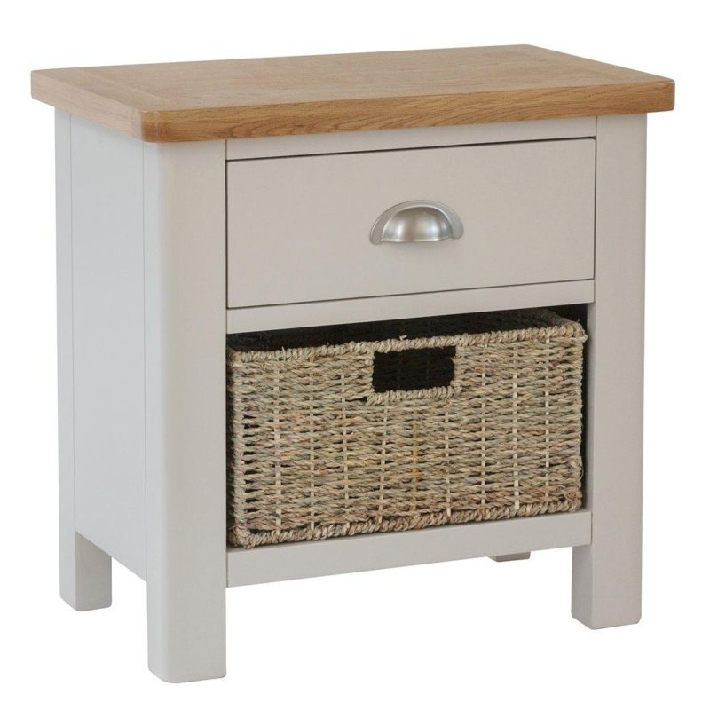 Small grey sideboard with a basket and a drawer