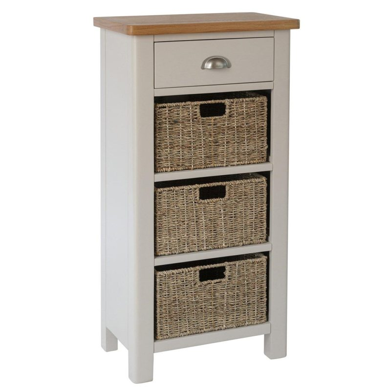 grey sideboard with 3 baskets and a drawer