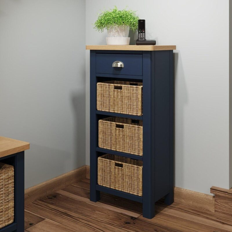 Inky blue single shelving unit with drawer and baskets