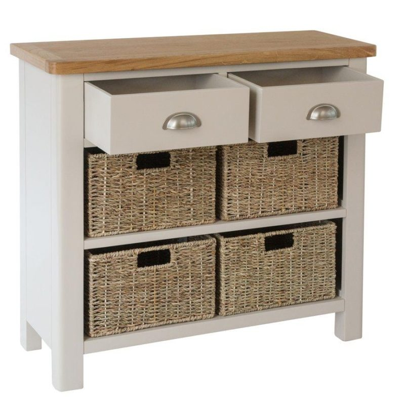 4 basket sideboard with 2 drawers