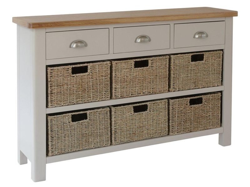 Grey-painted sideboard with 3 drawers and 6 baskets