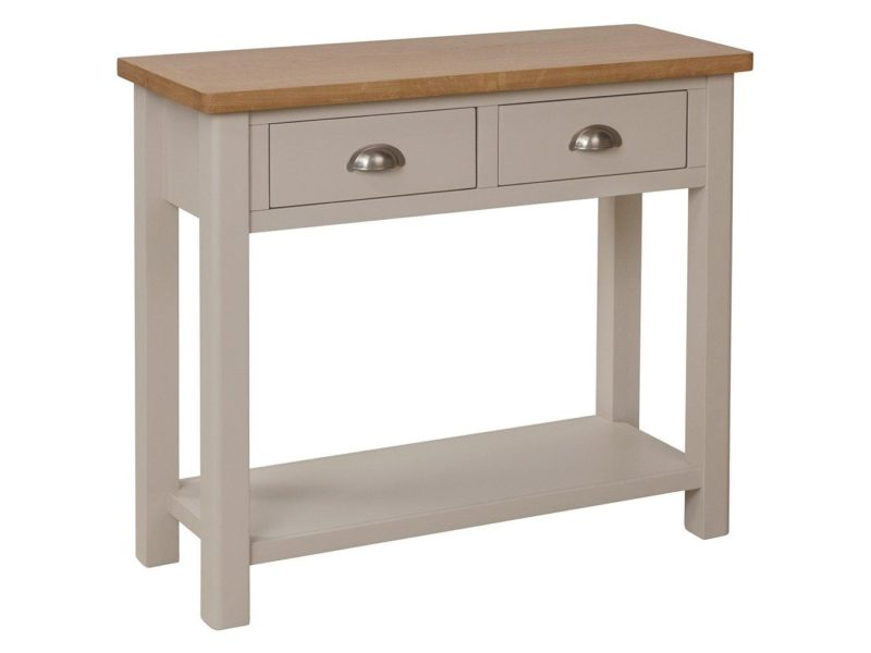 Grey and oak console table with 2 drawers
