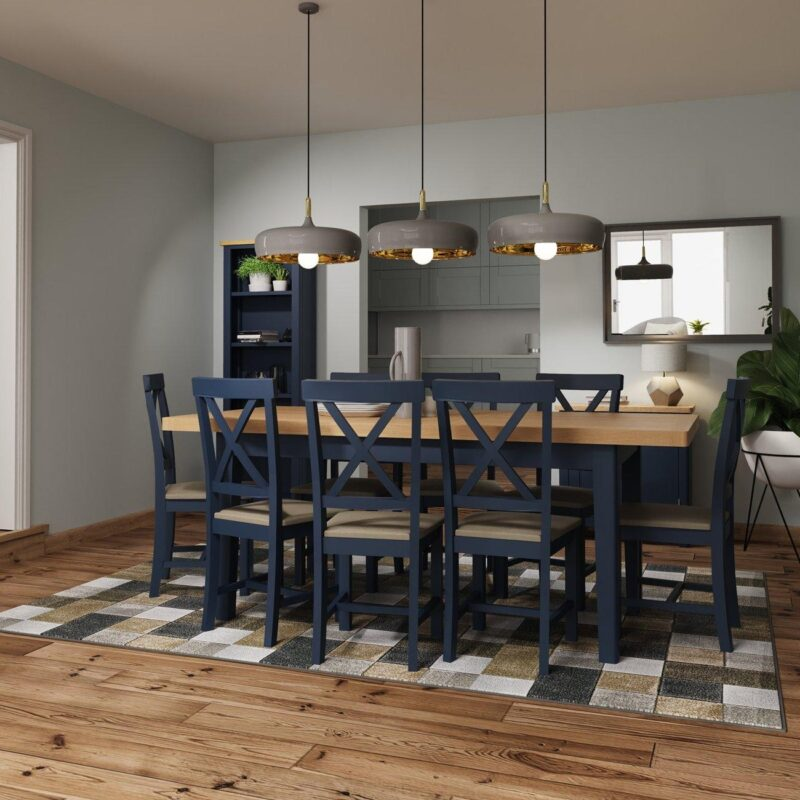 Blue/oak dining table with a set of 6 matching chairs