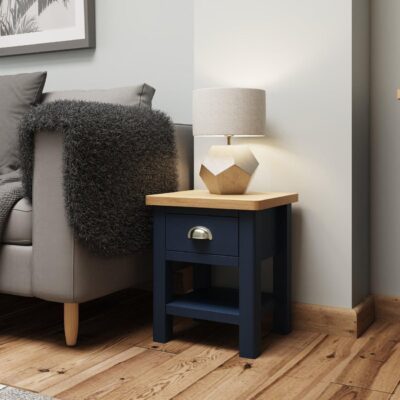 Dark blue side table with drawer and oak
