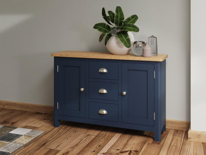 Ink-blue painted sideboard with oak top