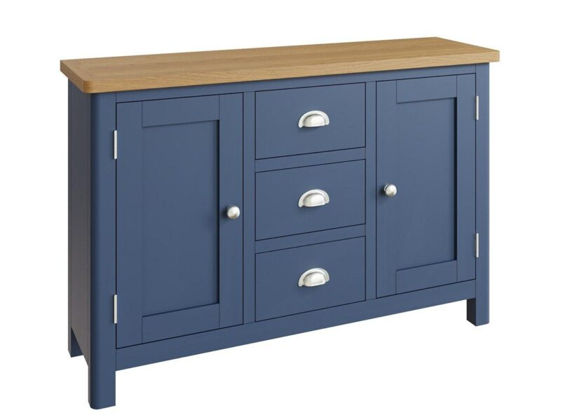 Dark blue sideboard with two doors and 3 drawers