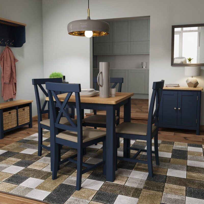 Square dining table and chair set with a dark blue painted finish