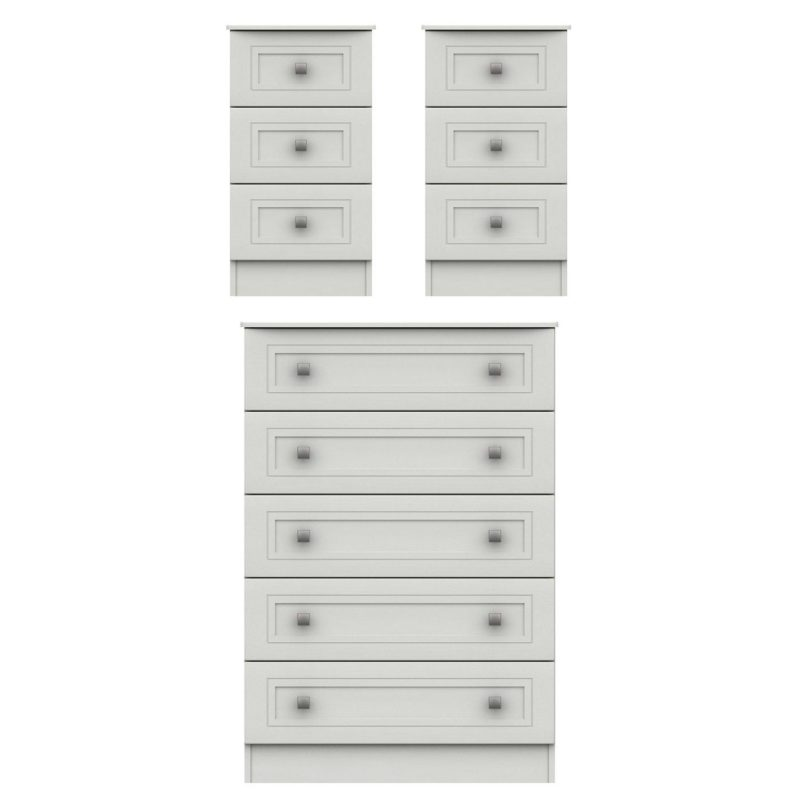 5-drawer chest and 2 x bedside chests