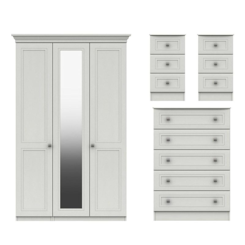3-door wardrobe, 5 drawer chest and 2 bedside units