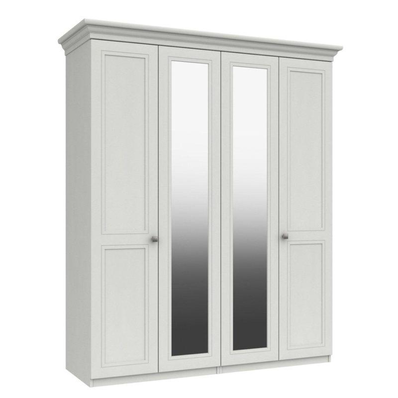 4-door wardrobe with 2 mirrored doors