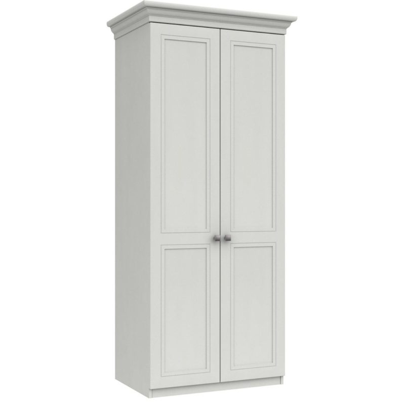 White-painted 2 door wardrobe