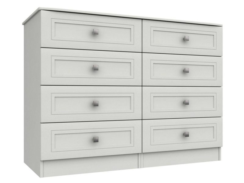 Wide 8 drawer chest - white