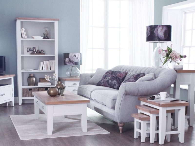 White painted living room furniture with oak tops