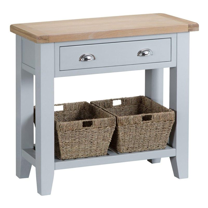 Grey-painted console table with drawers and baskets