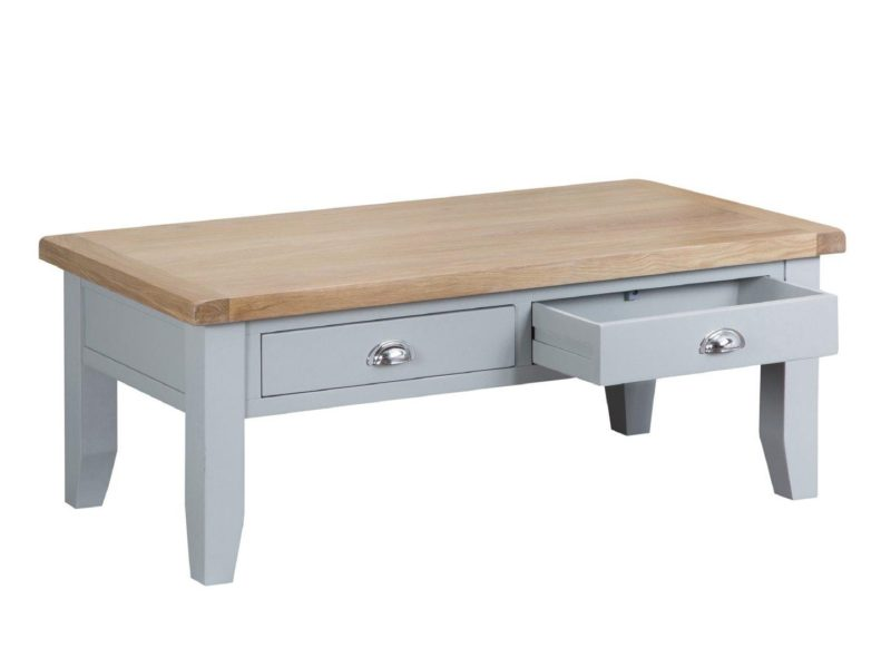 Grey-painted coffee table with 2 drawers